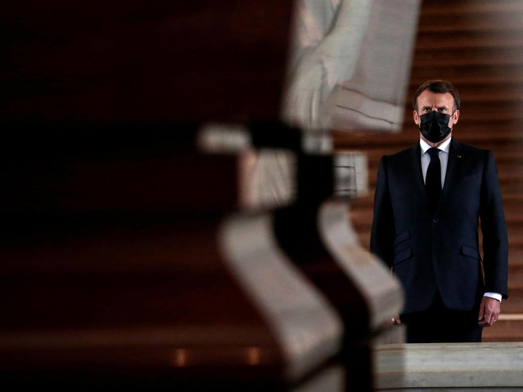 French President Emmanuel Macron stands in front of the tomb of French Emperor Napoleon in the Chapelle Saint-Jerome at the Invalides on May 5, 2021. Picture: Sarah Meyssonnier/AFP