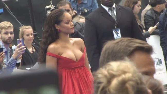 Rihanna's eye-popping plunging neckline at premiere