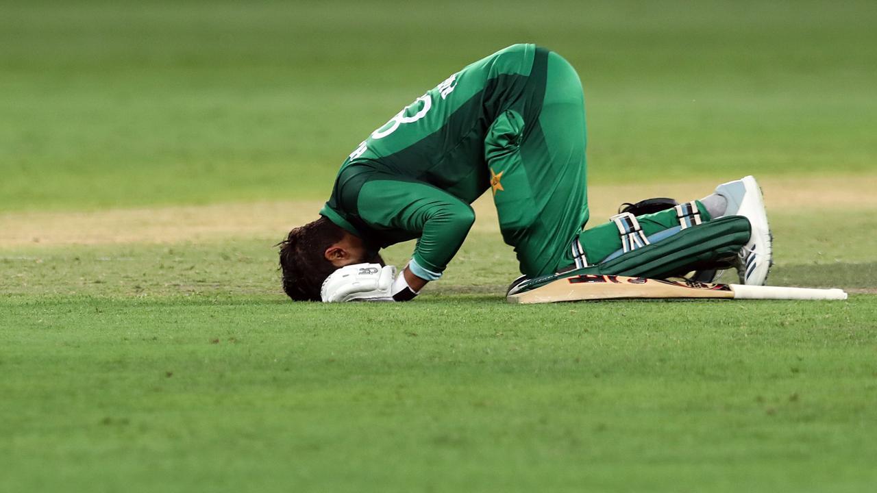 Pakistani cricketer Haris Sohail celebrates his century. Picture: Mahmoud Khaled/AFP
