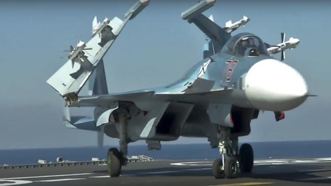 Russia claims to have moved a step closer to creating aircraft with lasers. Pictured is a Russian Su-33 fighter jet. Picture: Russian Defense Ministry Press Service/AP