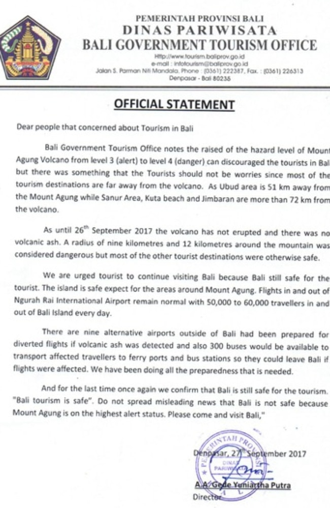 A statement from the Balinese government reassuring tourists.
