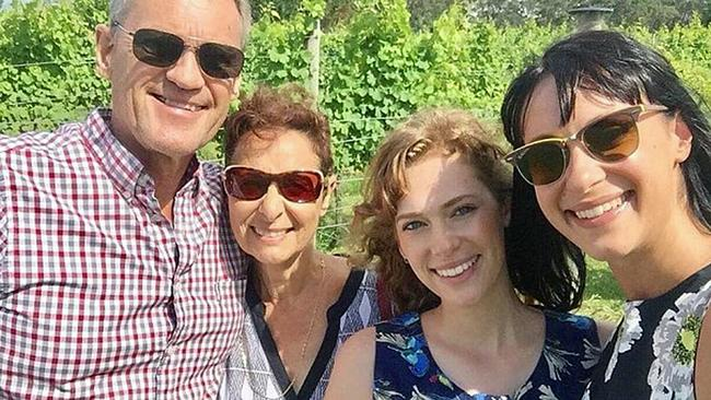 A Facebook photo of the Falkholt family taken on Christmas Day before a tragic accident claimed the lives of Vivian, and Lars, and left their daughters Jessica, right, and Annabelle, centre right, fighting for their lives. Picture: Facebook