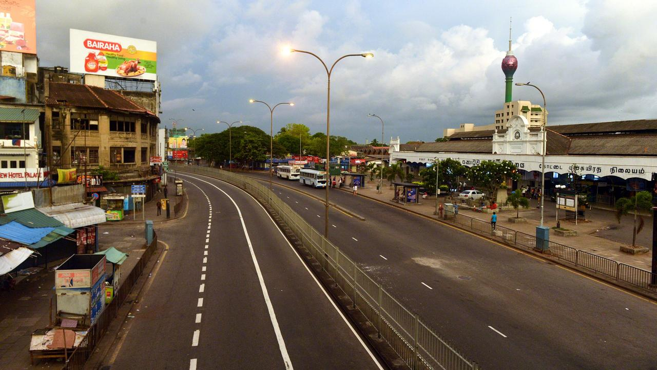 The empty streets amid the Sri Lankan curfew in Colombo on April 21, 2019. Picture: AFP.