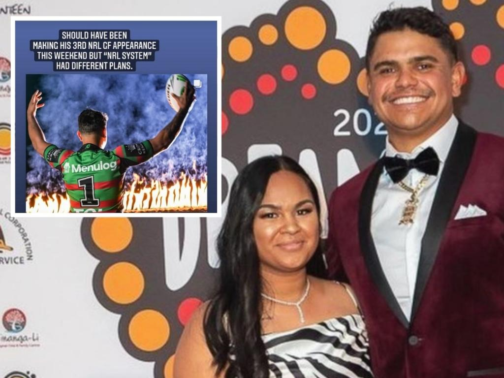Latrell Mitchell with his wife.
