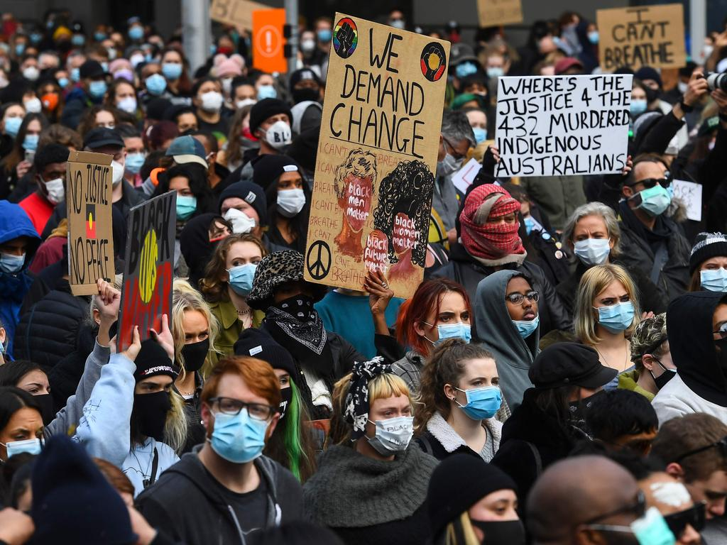 Black Lives Matter protesters in Melbourne on June 6, the city's biggest protest for the cause. Picture: William West/AFP