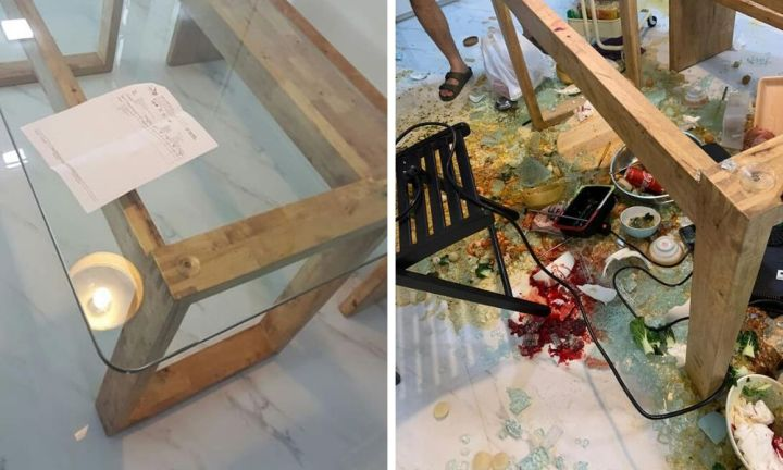 Party ends in horror after glass table top explodes