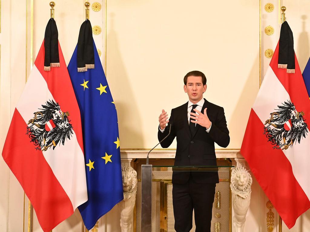 Austrian Chancellor Sebastian Kurz addresses a press conference after the attack. Picture: Joe Klamar/AFP