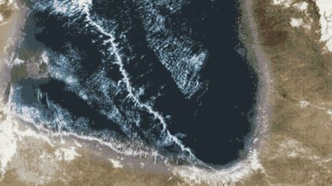 Satellite images show just how long the Morning Glory cloud can stretch over the massive Gulf of Carpentaria.
