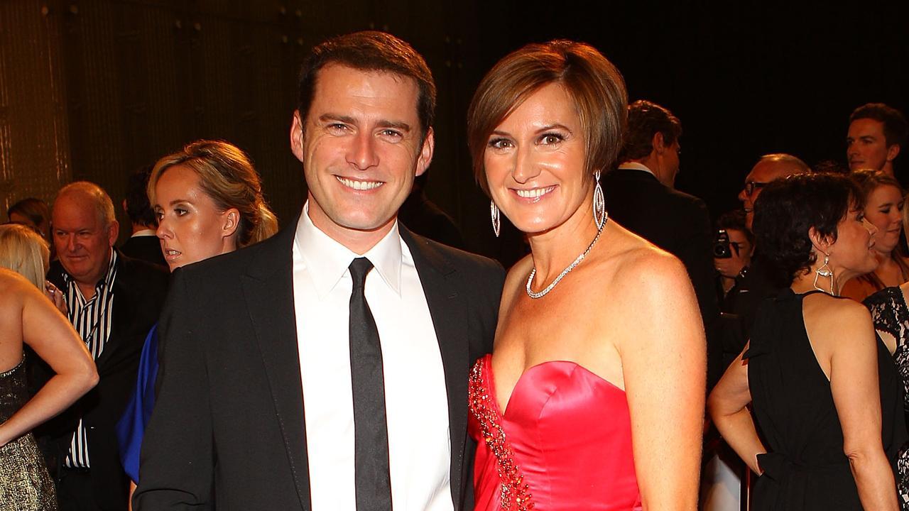 Karl Stefanovic and Cassandra Thorburn arrive on the red carpet at the 2011 Logie Awards.