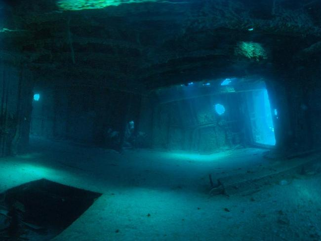Inside the hull of a sunken ship. Picture: Bermuda Dive Association.