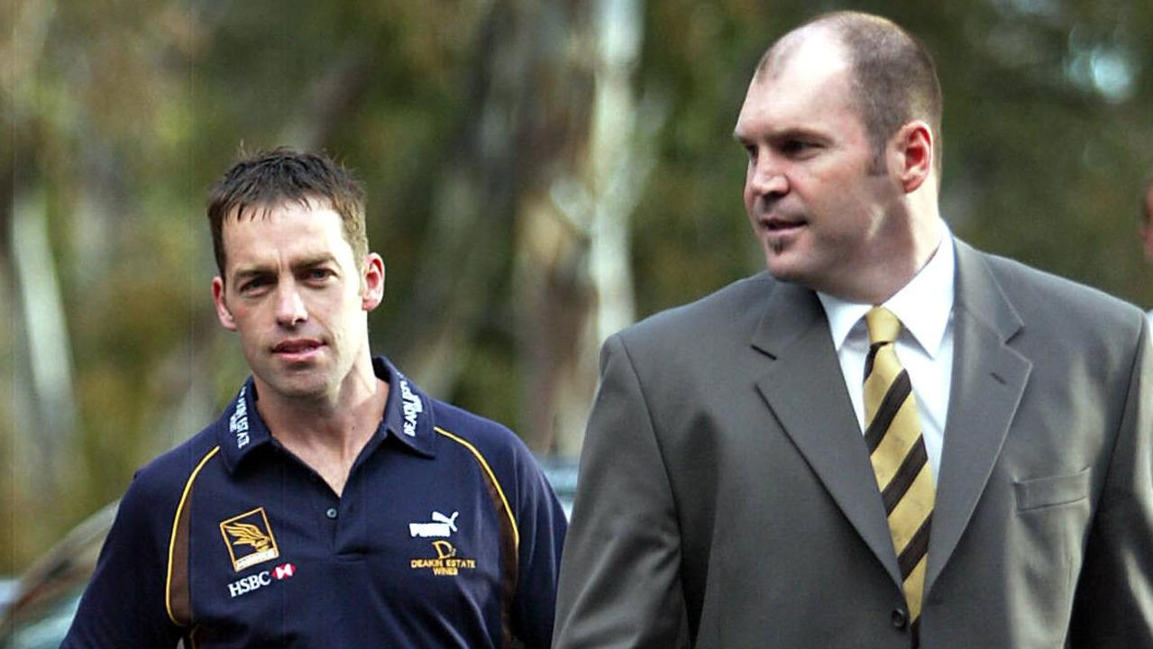 Alastair Clarkson with Jason Dunstall at the announcement of Clarkson's appointment as Hawthorn coach.