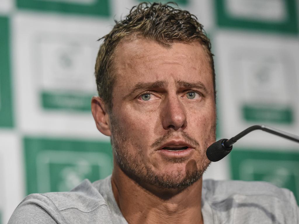 Australian team captain Lleyton Hewitt addresses the media.