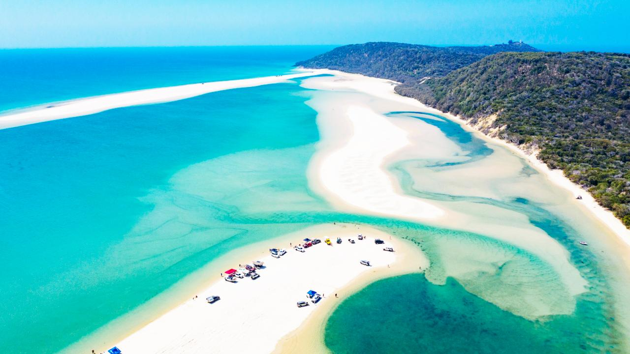 Aerial view of cars on the beach, Double Island Point. Picture: Sean Scott