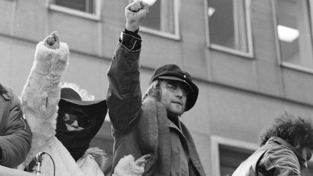 John Lennon in 1972 protest in scene from the film 'The US vs John Lennon'. Picture: Supplied