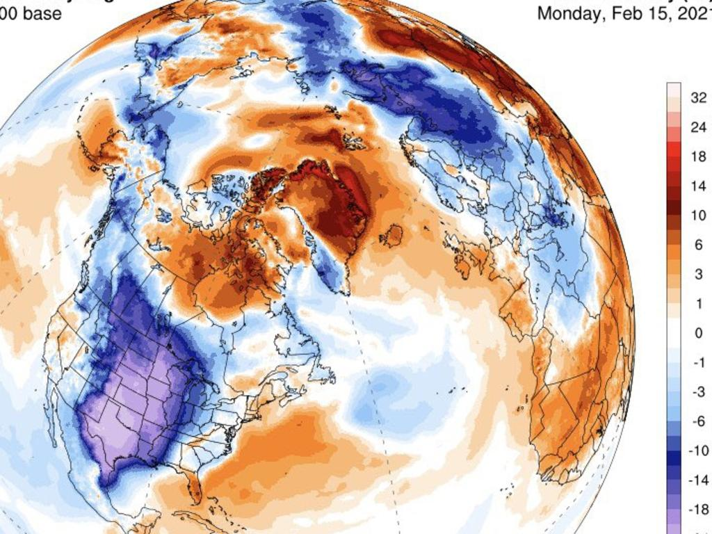 Temperature anomalies across North America and the Arctic on Monday shows the continental US far colder than usual and the Arctic far warmer. Picture: University of Maine
