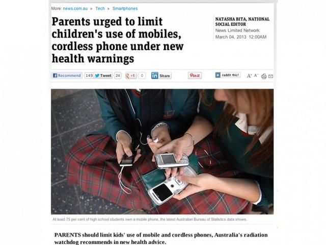 Parents urged to limit children's use of mobiles.