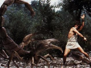 Harry Hamlin is the young Jason battling with special effects creatures created by Ray/Harryhausen in Jason and the Argonauts. movies film scene