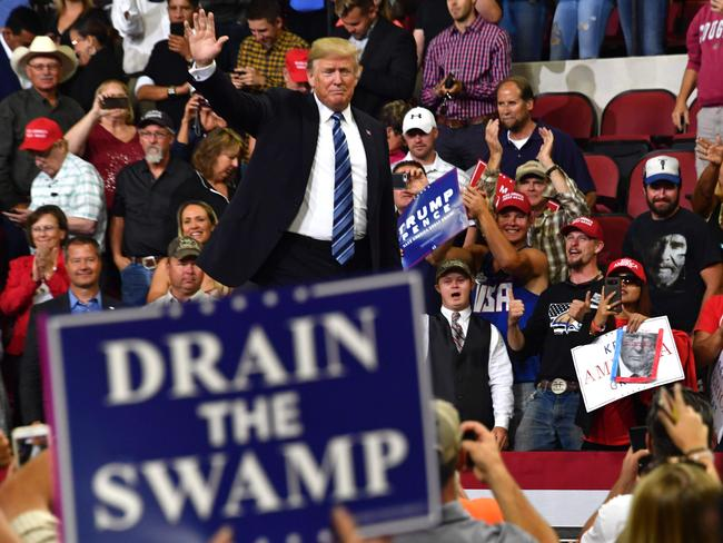 President Donald Trump waves to the crowd during a Make America Great Again rally in Billings, Montana - with no Plaid Shirt Guy in sight. Picture: Nicholas Kamm / AFP.