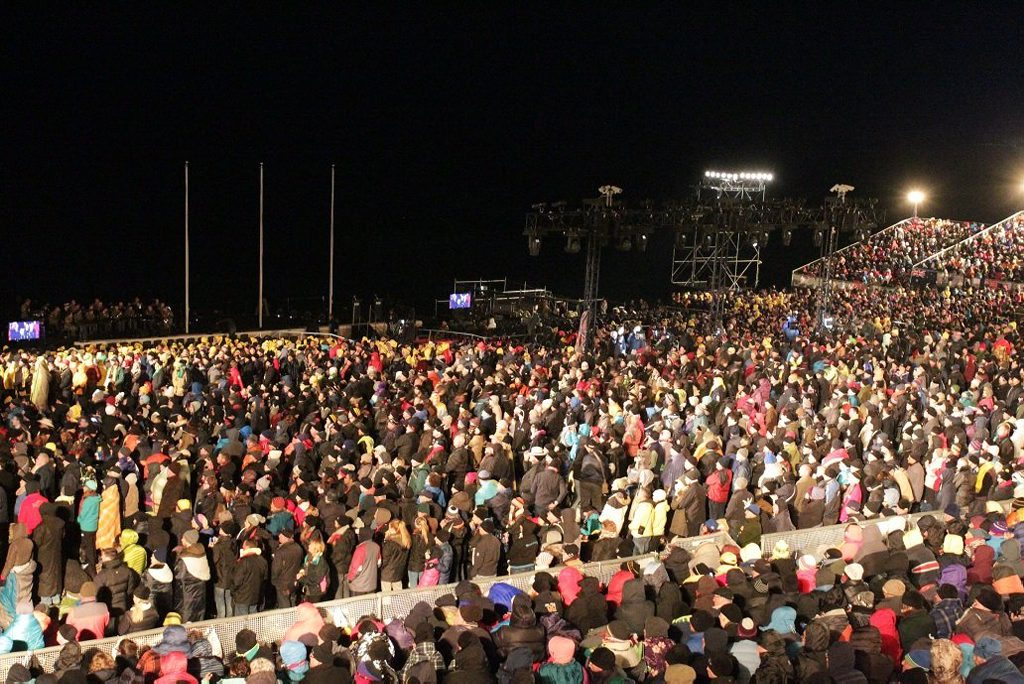 The crowd stands at the beginning of the centenary Anzac day dawn service at Gallipoli. . Picture: Stuart Cumming
