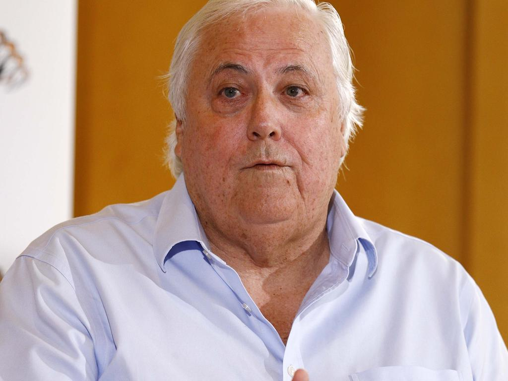 Clive Palmer during a media conference which was held in Brisbane. Picture: NCA NewsWire/Tertius Pickard