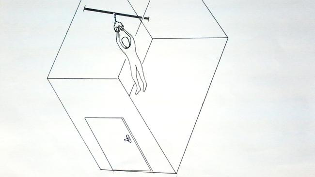 A drawing by Mohamed Ben Soud showing how the CIA shackled him to a beam to deprive him of sleep. Picture: Courtesy of the American Civil Liberties Union