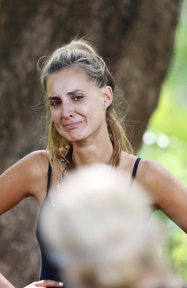 Not happy ... Laura Dundovic breaks down in bush tucker trial on I'm A Celebrity Get Me Out of Here. Pic: Channel 10