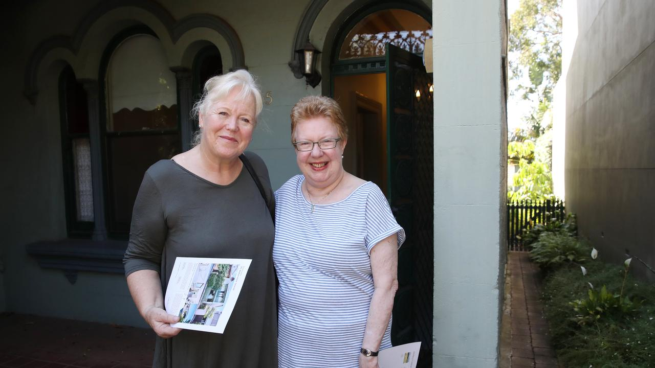 Balmain terrace buyer Iona Stienle (left) with vendor Jenny Eisner, whose mother was born in the house in 1930. Picture: David Swift