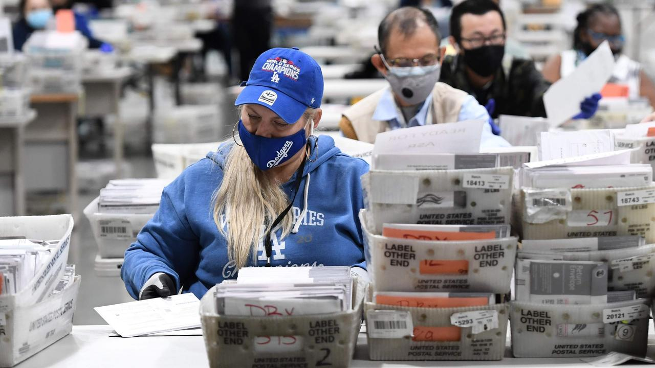 Mail-in ballots for the US presidential election are sorted at the Los Angeles County Registrar Recorders' mail-in ballot processing center at the Pomona Fairplex in Pomona, California. Photo: Robyn Beck/AFP