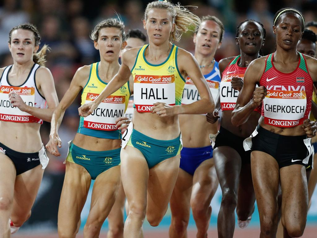 Linden Hall competing at the 2018 Commonwealth Games.