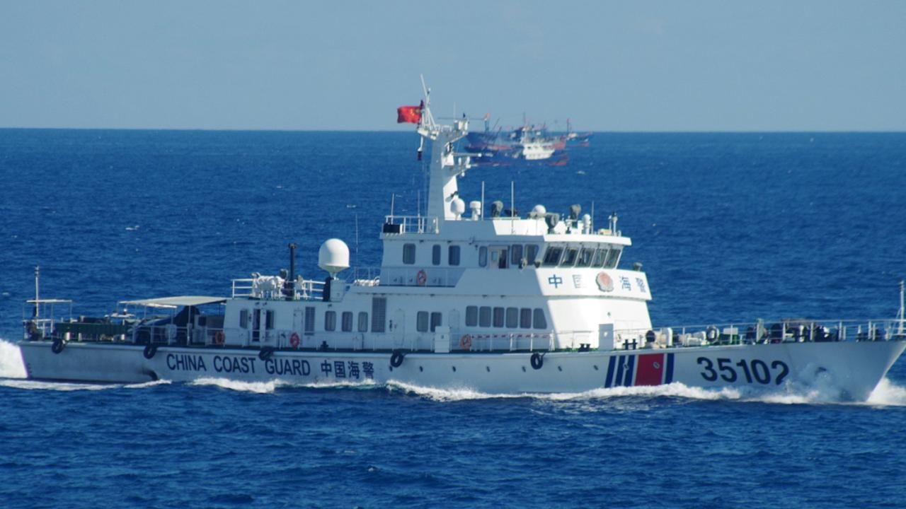A Chinese vessel sails near the disputed islands in August 2016. Picture: 11th Regional Coast Guard Headquarters via AP