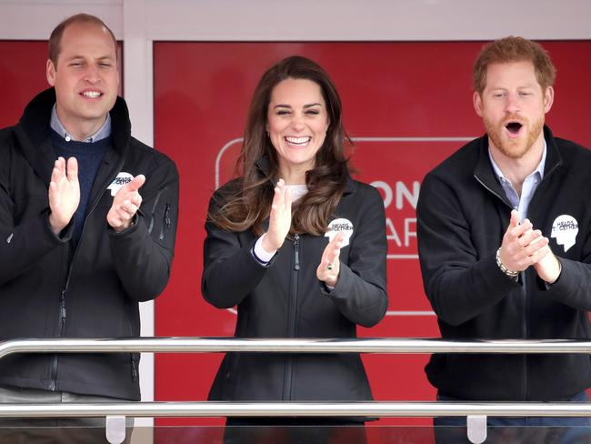 Prince William, Duke of Cambridge and Catherine, Duchess of Cambridge cheer on runners as they signal the start of the 2017 London Marathon on April 23, 2017 in London. Picture: Getty.