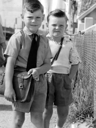 Ascot Park Infant School primary students Robert and Terry, both 5, on their first day of school in 1960.