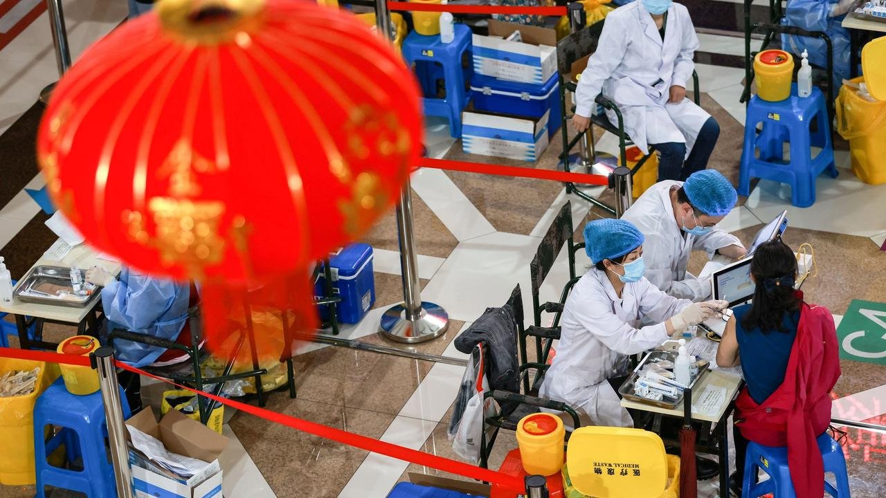 China claims to have vaccinated 100 million people in just five days. Picture: STR/AFP