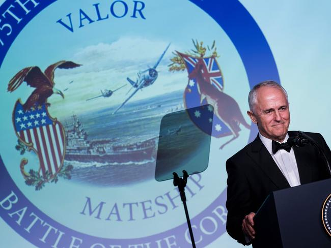 Prime Minister Malcolm Turnbull has discussed his gambling ad crackdown a day after he appeared on stage in New York to mark the 75th anniversary of the Battle of the Coral Sea. Picture: AFP/Brendan Smialowski