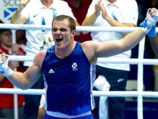 Scottish boxer Stephen Lavelle competing at the Commonwealth Games in Glasgow.
