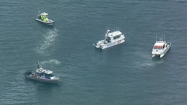Police vessels searched for the plane after it crashed at Coamn Creek. Picture: Nine News