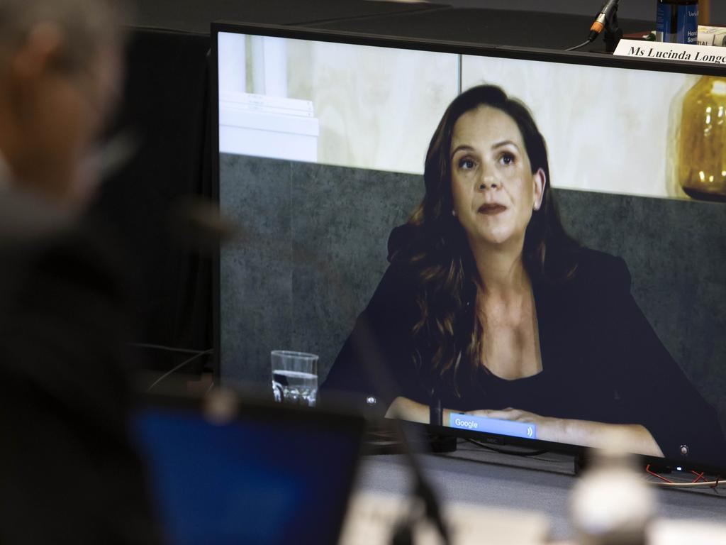 Google's Mel Silva fronted the senate inquiry via video, saying the move would be a 'worst case scenario'. Picture: NCA NewsWire/Gary Ramage