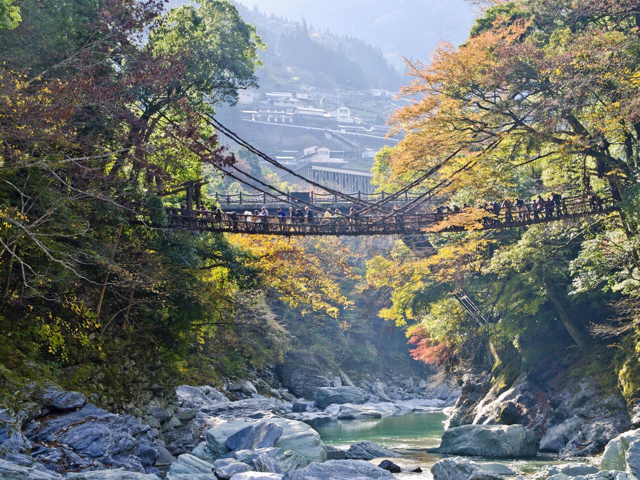The Iya valley and Kazurabashi bridge, Tokushima, Shikoku, Japan