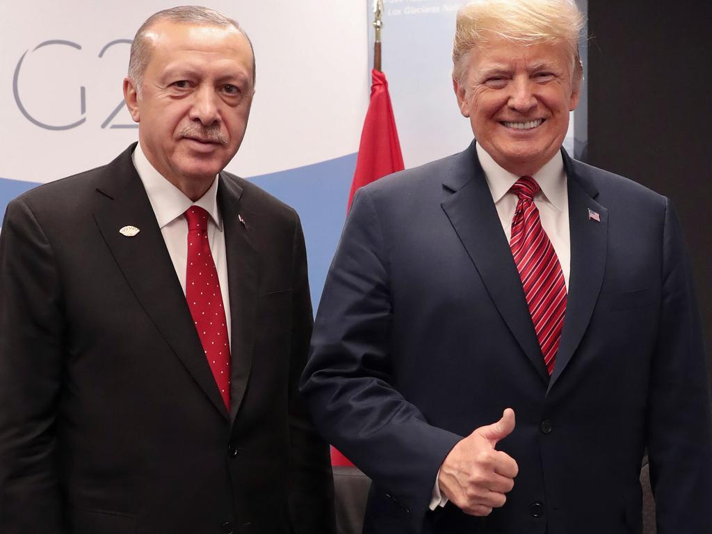 Turkish President Recep Tayyip Erdogan with US President Donald Trump during the G20 summit in Argentina last year. Picture: Murat Cetinmuhurdar/Turkish Presidential PRESS Service/AFP
