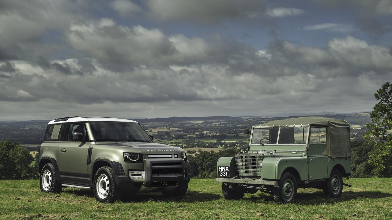 The 2020 Land Rover Defender and its rugged forebear.