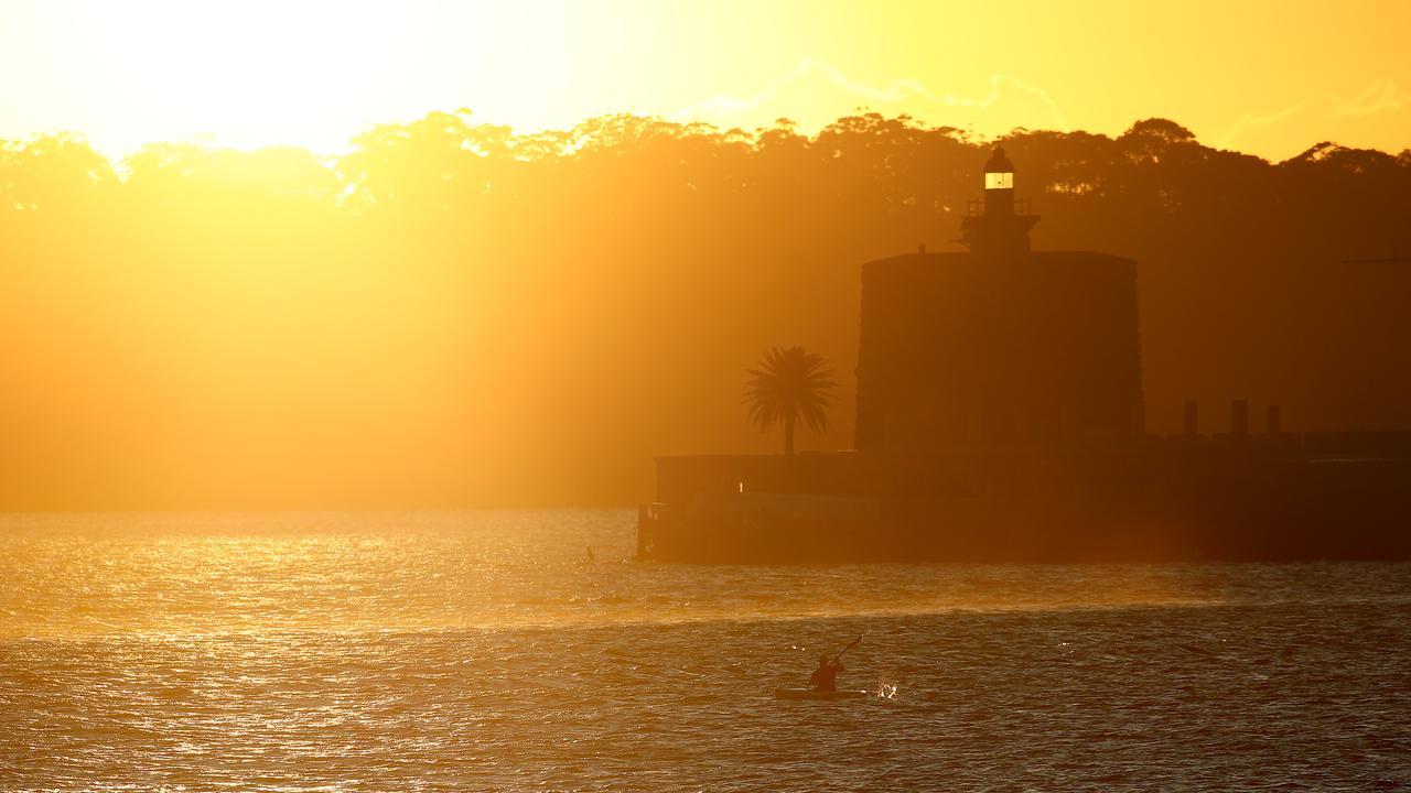 Sunrise over Sydney on a cool, crisp morning. Picture: Toby Zerna