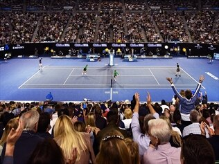 Two men have been caught allegedly trying to sell fake tickets to the Australian Open men's final.