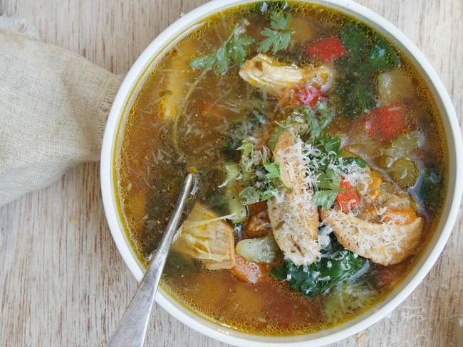 Chicken and vegetable soup is a filling lunch.