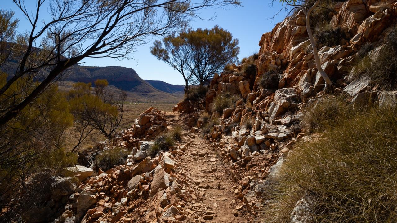 The Larapinta trail winds its way through the Australian outback desert in the West Macdonell ranges