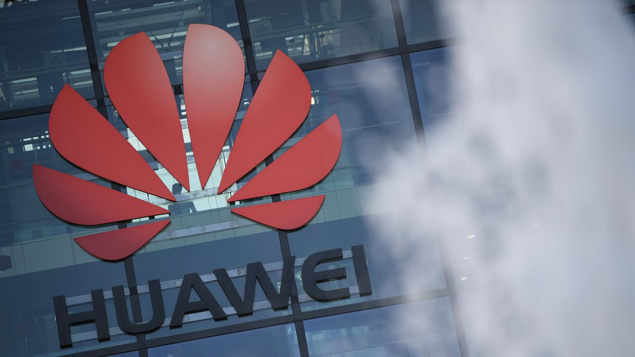 The Huawei logo displayed on its Reading, UK office. Picture: Daniel Leal-Olivas / AFP