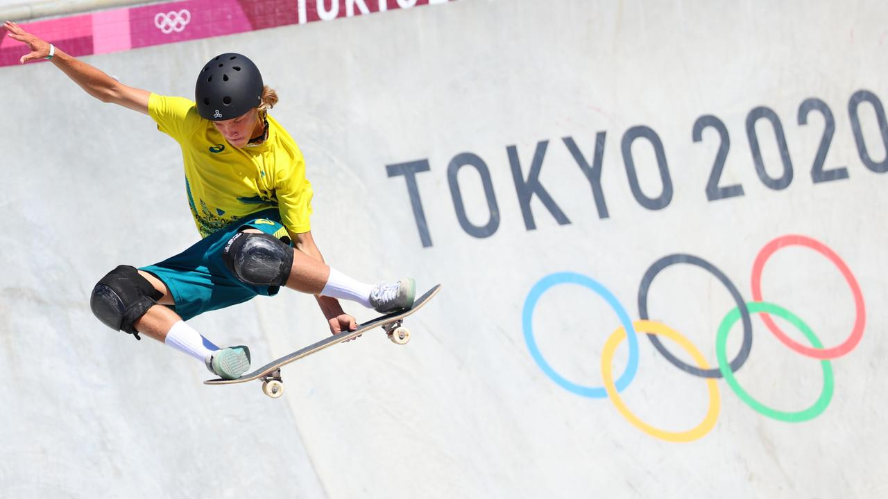 Keegan Palmer won Australia's first skateboarding medal with his gold in the men's park final on day 13 at the Tokyo Olympics. Picture: Getty Images