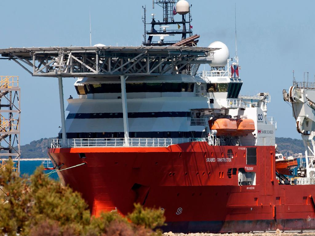 Ocean Infinity research vessel Seabed Constructor docks at Henderson, south of Perth for a refuelling stop in February this year during its search for MH370. Picture: AFP