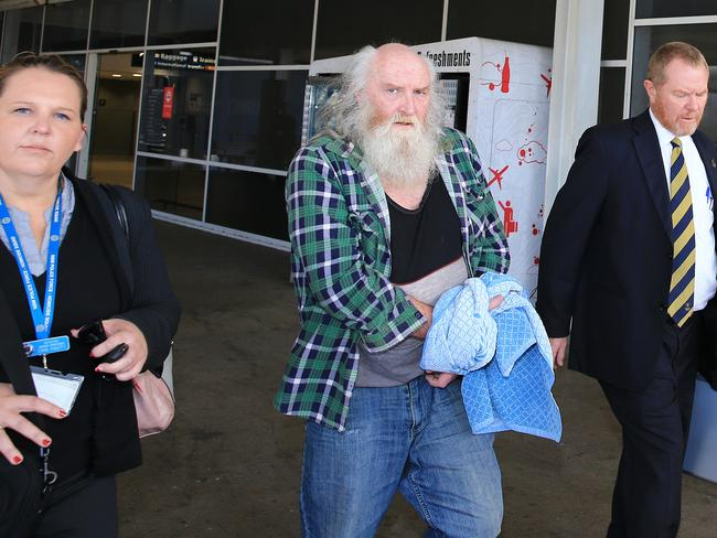 Colin Michael Newey, 61, arrives at Sydney Airport from Adelaide. Picture: Mark Evans