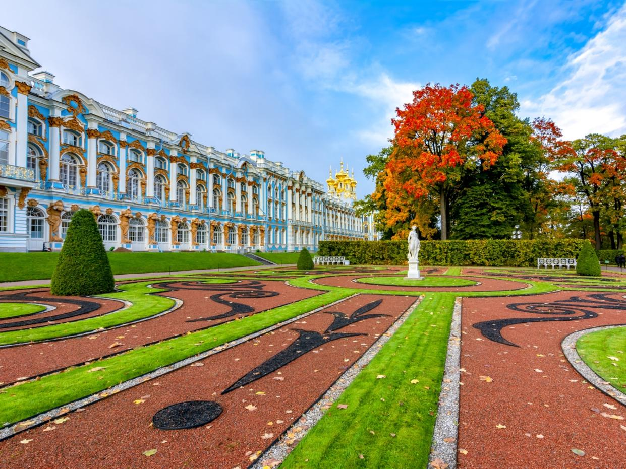 Catherine palace and park in autumn foliage, Tsarskoe Selo (Pushkin), St. Petersburg, Russia