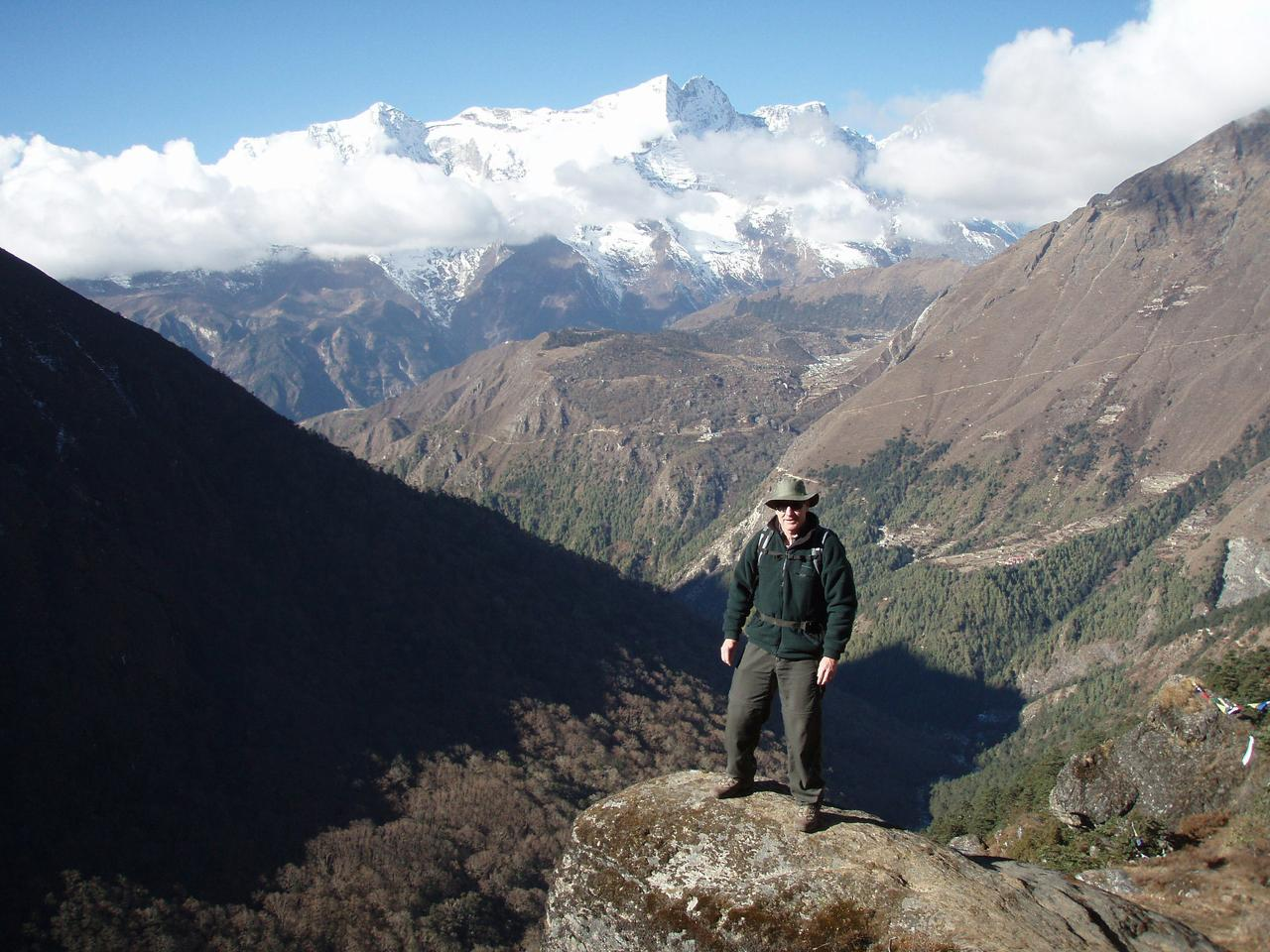 Journalist Brad Crouch above Tengboche in Nepal.